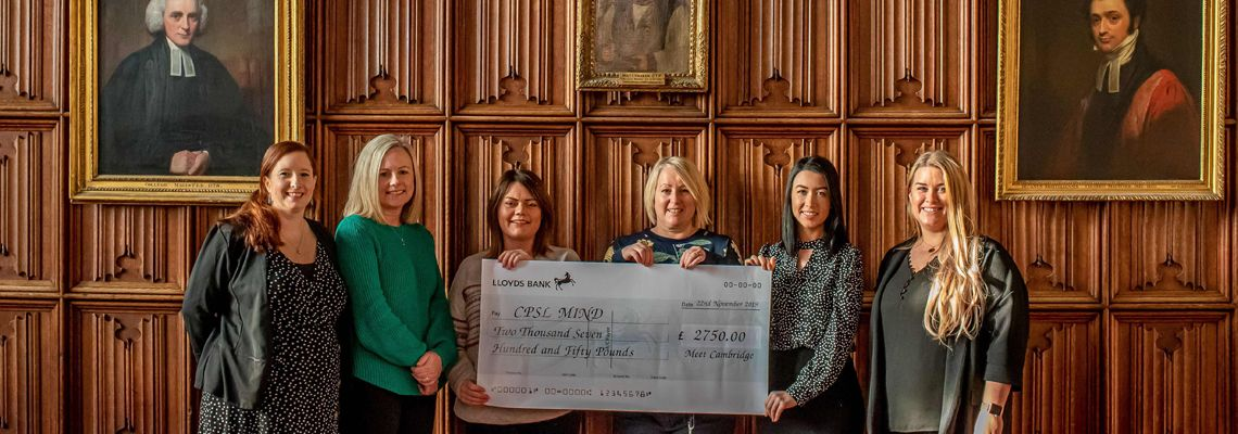 The Meet Cambridge team present a cheque to CPSL Mind, left to right: Laura Rayyan, Judith Sloane, Zoe Doherty (CPSL Mind), Kelly Vickers, Amy Beschizza and Natalie Silgram.