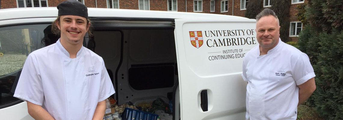 Madingley Hall Chefs Chris Hinton and Mark Walker load food for Jimmy's Night  Shelter into the electric delivery van.